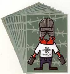 """Zum Aufkleber-Paket """"No Border, No Nation"""" für 1,75 € gehen."""