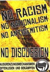 """Zum Aufkleber-Paket """"No Racism - No Nationalism - No Antisemitism: No Discussion"""" für 1,75 € gehen."""
