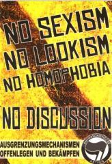 "Zum Aufkleber-Paket ""No Sexism - No Lookism - No Homophobia: No Discussion"" für 1,80 € gehen."