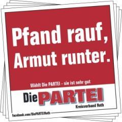 """Zum Aufkleber-Paket """"Pfand rauf, Armut runter."""" für 2,50 € gehen."""