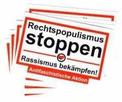 """Zum Aufkleber-Paket """"Rechtspopulismus stoppen"""" für 1,80 € gehen."""