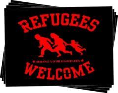"""Zum Aufkleber-Paket """"Refugees welcome (rot)"""" für 1,80 € gehen."""