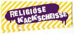 """Zum Aufkleber-Paket """"Religiöse Kackscheisse"""" für 2,20 € gehen."""