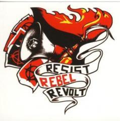 """Zum Aufkleber-Paket """"Resist Rebel Revolt"""" für 1,80 € gehen."""