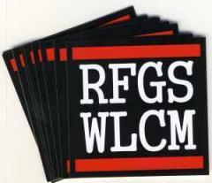 """Zum Aufkleber-Paket """"RFGS WLCM"""" für 1,80 € gehen."""