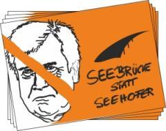 """Zum Aufkleber-Paket """"Seebrücke statt Seehofer"""" für 1,75 € gehen."""