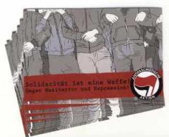 """Zum Aufkleber-Paket """"Solidarität ist eine Waffe!"""" für 1,80 € gehen."""