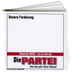 """Zum Aufkleber-Paket """"Unsere Forderung (mit PARTEI-Unterstützungsbeitrag)"""" für 4,00 € gehen."""