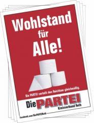"""Zum Aufkleber-Paket """"Wohlstand für Alle! (mit PARTEI-Unterstützungsbeitrag)"""" für 3,90 € gehen."""