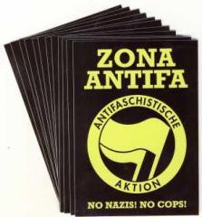 """Zum Aufkleber-Paket """"Zona Antifa"""" für 1,75 € gehen."""